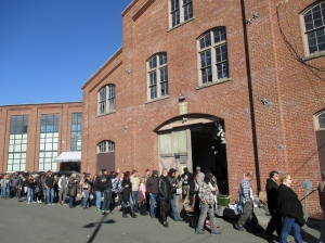 Part of the line waiting to get in to the Punk Rock Flea Market, Roebling Wire Works, Trenton, NJ.