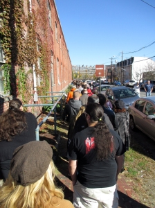 The line for entry ($4) to the Punk Rock Flea Market wrapped all the way around the Roebling Wire Works.