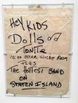 "Handwrtten handbill announcing Dolls and ""The Hottest Band on Staten Island""."