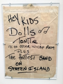 "Handwrtten handbill announcing Dolls and ""The Hottest Band on Staten Island""."