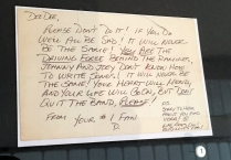 Fan mail protesting Dee Dee Ramone's departure from the band.
