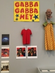 Freaks costume, album art, and the Gabba Gabba Hey poster. The case in the lower-right contains original, handwritten lyrics.