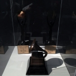 The Ramones' lifetime achievement Grammy (2011) and two induction statues to the Rock and Roll Hall of Fame (2002).