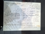 """Handwritten lyrics for """"I Won't Let It Happen"""". All-caps, the hastily written text shouts urgency. Urgency and speed."""