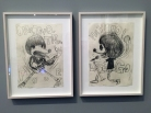Band art by Joey Ramone of himself and Johnny Ramone.