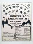 Concert poster featuring Dee Dee Ramone as well as Blondie, Wayne County, Divine, Richard Hell, Johnny Thunders. Note the door prizes that include albums, pictures, costumes, and memorabilia from Aerosmith, David Bowie, Wayne County, Kiss, Iggy Pop, the Ramones, and more.